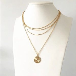 Gold coin 4 chain necklace